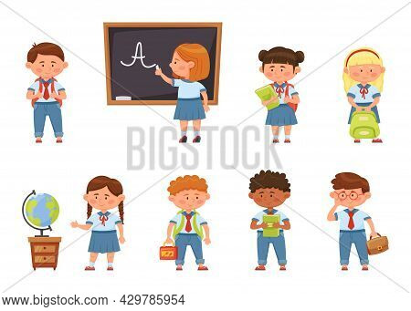 Cartoon School Kids In Uniform, Elementary Students With Backpacks. Cute Pupils Holding Books, Child