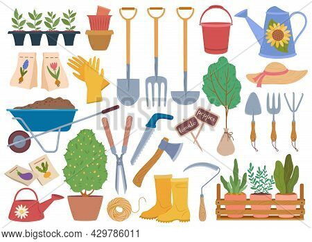 Gardening Tools, Spring Garden Equipment And Plants Sapling. Watering Can, Gloves, Wheelbarrow With