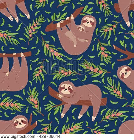 Cute Sloths On Branch Seamless Pattern For Nursery Wallpaper. Baby Sloth Animal With Mother. Funny L