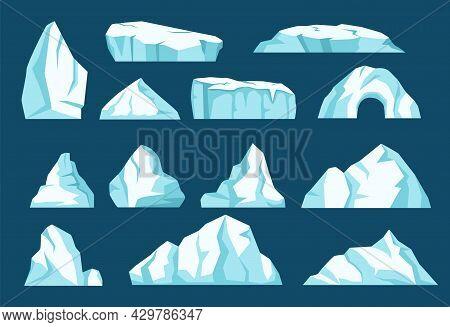 Cartoon Icebergs, Antarctic Ice Glaciers, Arctic Ice Rocks. Floating Iceberg Mountains, Frozen Snow