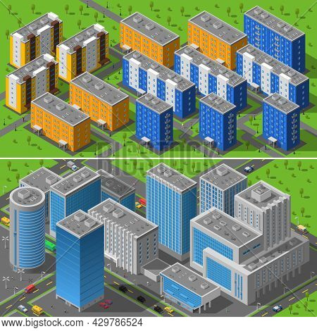 Modern City Business Center Buildings And Residential Area Apartments Isometric Horizontal Banners C