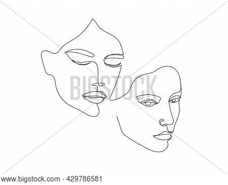Vector Minimalist Style Portrait. Line, Continuous Linear Two Women Portrait. Hand Drawn Abstract Fe