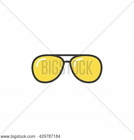 Yellow Hipster Sun Glasses. Unisex Pilot Sunglasses. Vector Illustration Isolated On White. Summer I