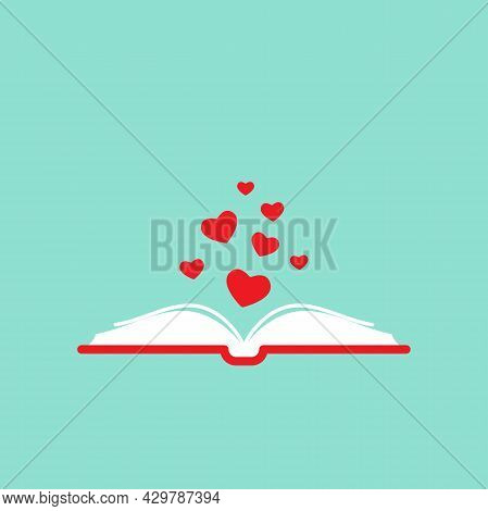 Open Book With Red Cover And Red Hearts Flying Out. Isolated On Turquoise Background. Bibliophile Fl