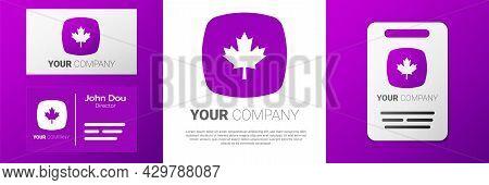 Logotype Canadian Maple Leaf Icon Isolated On White Background. Canada Symbol Maple Leaf. Logo Desig