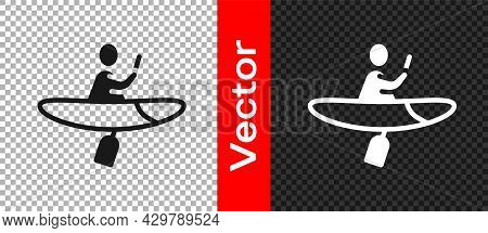 Black Kayak And Paddle Icon Isolated On Transparent Background. Kayak And Canoe For Fishing And Tour