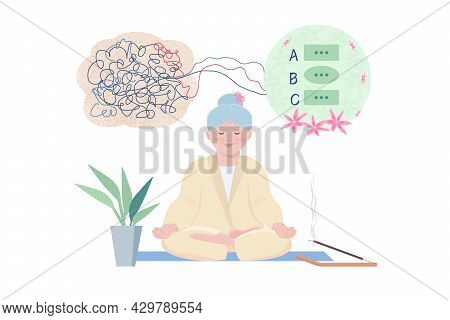 An Elderly Woman Is Meditating. The Concept Of Bringing Thought Out Of Chaos Into Order. Yoga, A Hea