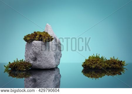 Template Background For Product Presentation With Stone And Moss Against Blue Background. Mockup, Bl