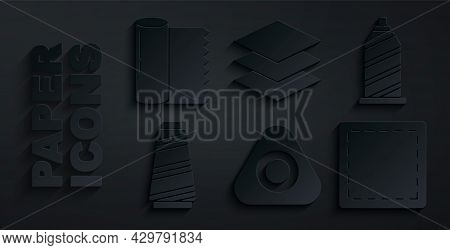 Set Sewing Chalk, Thread, Pattern, Layers Clothing Textile And Textile Fabric Roll Icon. Vector