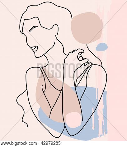 Abstract Minimalist Female Figure. One Line Style Drawing. Abstract Modern Collage Of Geometric Shap