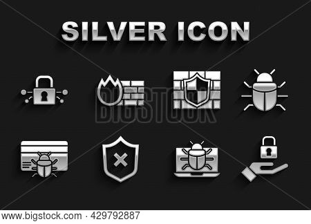 Set Shield With Cross Mark, System Bug, Lock In Hand, On Monitor, Credit Card, Brick Wall, Cyber Sec