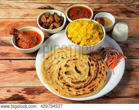 Chicken Maharaja Thali, Food Platter Consists Variety Of Veggies,chicken Meat, Lentils,rice, Sweet D