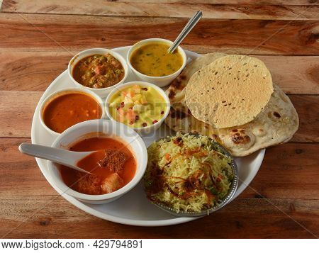 Special Veg Thali From An Indian Cuisine, Food Platter Consists Variety Of Veggies, Soup, Paneer Dis