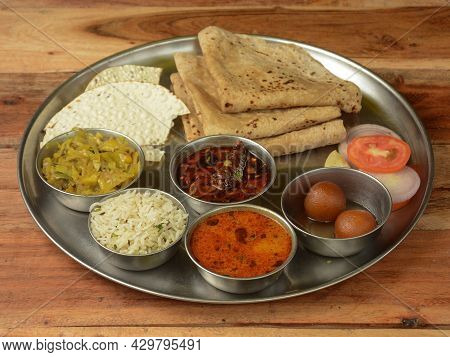 Special Veg Thali From An Indian Cuisine, Food Platter Consists Variety Of Veggies,paneer Dish, Lent