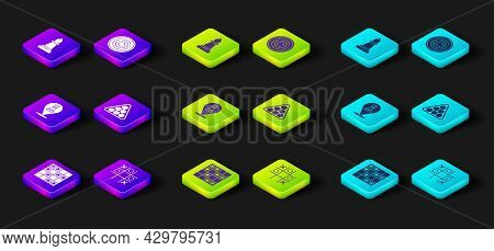 Set Board Game Of Checkers, Tic Tac Toe, Chess, Billiard Balls In Triangle, Checker Chips And Icon.