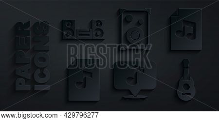 Set Musical Note, Book With, Guitar, Stereo Speaker And Home Stereo Icon. Vector