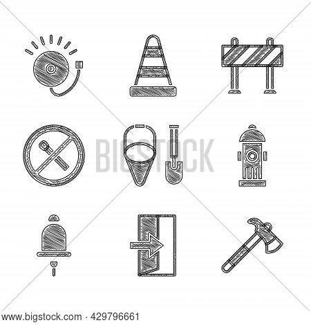 Set Fire Shovel And Bucket, Exit, Firefighter Axe, Hydrant, Ringing Alarm Bell, No Fire Match, Road