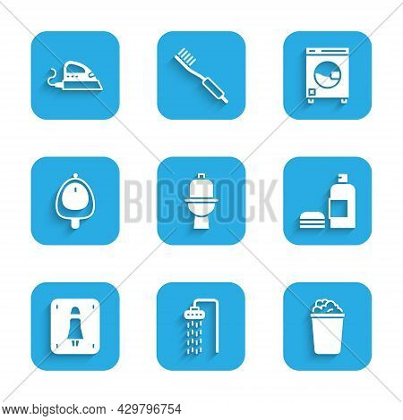 Set Toilet Bowl, Shower, Bucket With Soap Suds, Bottle Of Shampoo, Female Toilet, Urinal Or Pissoir,