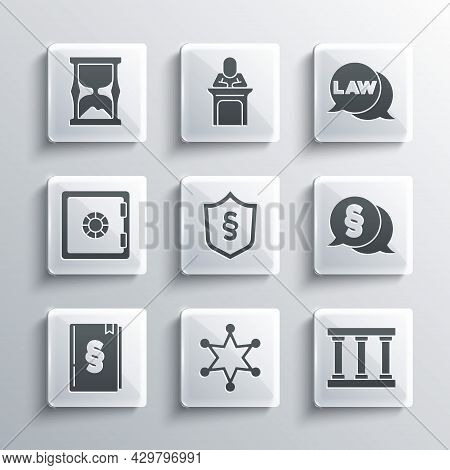 Set Hexagram Sheriff, Prison Window, Law, Justice Law Shield, Book, Safe, Old Hourglass And Icon. Ve