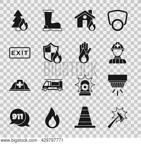 Set Firefighter Axe, Smoke Alarm System, In Burning House, Protection Shield, Exit, Burning Forest T