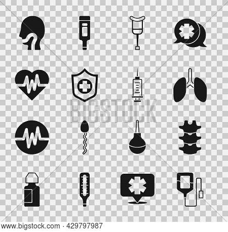 Set Iv Bag, Human Spine, Lungs, Crutch Or Crutches, Life Insurance Hand, Heart Rate, Sore Throat And