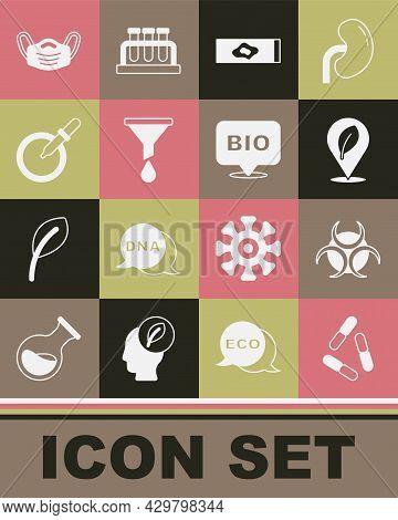 Set Virus, Biohazard Symbol, Location With Leaf, Blood Test And Virus, Funnel Or Filter, Petri Dish
