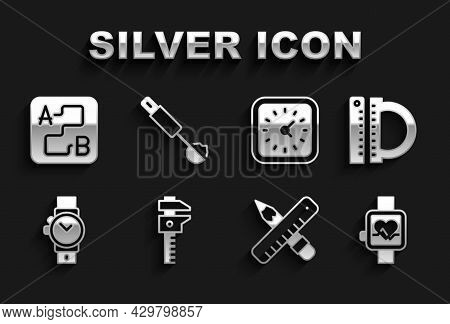 Set Calliper Or Caliper And Scale, Protractor Ruler, Smart Watch, Crossed Pencil, Wrist, Clock, Rout