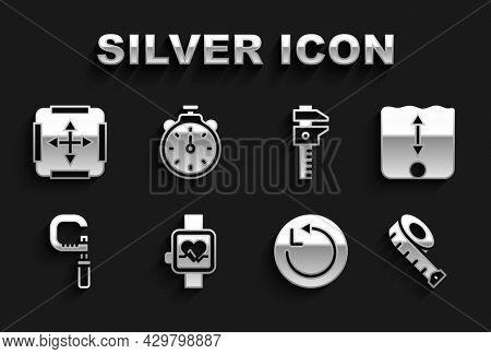 Set Smart Watch, Depth Measurement, Measuring Tape, Radius, Micrometer, Calliper Or Caliper And Scal