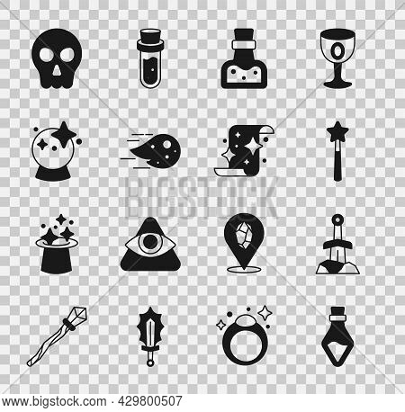 Set Bottle With Potion, Sword In The Stone, Magic Wand, Fireball, Skull And Scroll Icon. Vector