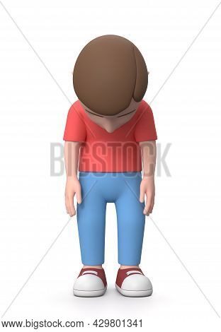 Sad Young Kid. 3d Cartoon Character Isolated On White Background 3d Illustration, Front View, Discou