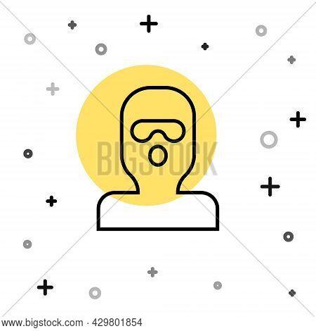 Black Line Thief Mask Icon Isolated On White Background. Bandit Mask, Criminal Man. Random Dynamic S