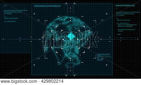 Target Analysis World Map Element. User Interface In Air Force And Aircraft. Modern Technology. Digi
