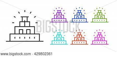 Black Line Chichen Itza In Mayan Icon Isolated On White Background. Ancient Mayan Pyramid. Famous Mo