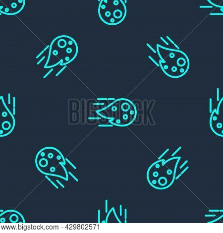Green Line Fireball Icon Isolated Seamless Pattern On Blue Background. Vector