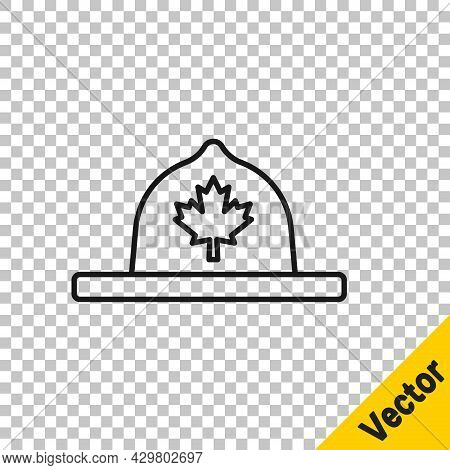 Black Line Canadian Ranger Hat Uniform Icon Isolated On Transparent Background. Vector