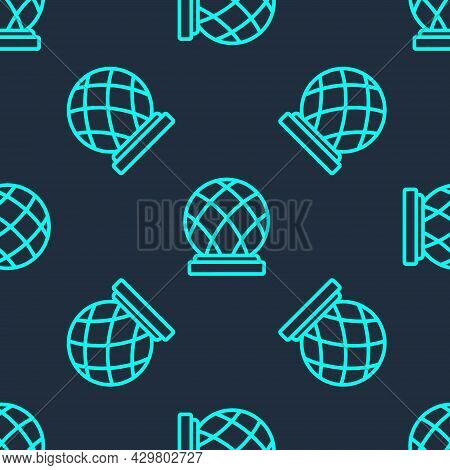 Green Line Montreal Biosphere Icon Isolated Seamless Pattern On Blue Background. Vector