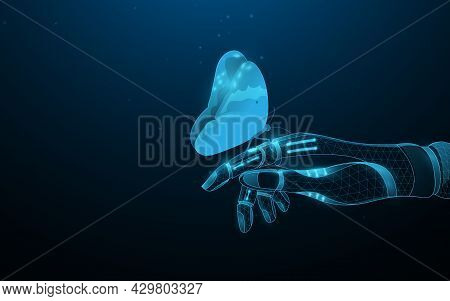 A Butterfly Sitting On A Robotic Hand. The Symbol Of The Link Between Natural And Artificial Intelli