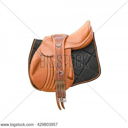 Competitive saddle of brown leather on the side on a white background