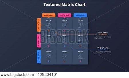 Matrix Diagram With 9 Paper Black Square Cells With Letters Arranged In Rows And Columns. Table Or G