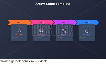 Progress Bar With Four Colorful Arrows And Paper Black Square Elements Placed In Horizontal Row. Con