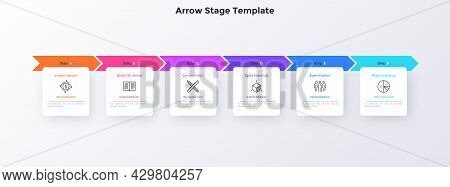 Progress Bar With Six Colorful Arrows And Paper White Square Elements Placed In Horizontal Row. Conc
