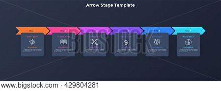 Progress Bar With Six Colorful Arrows And Paper Black Square Elements Placed In Horizontal Row. Conc