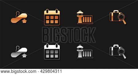 Set Escalator Up, Calendar And Airplane, Airport Control Tower And Lost Baggage Icon. Vector