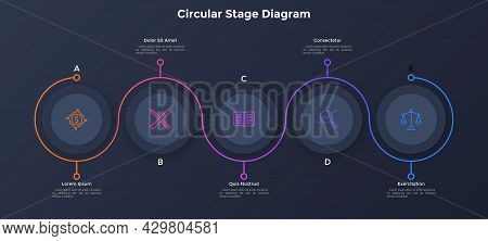 Process Chart With Five Paper Black Circular Elements Placed In Horizontal Row And Curved Line. Conc