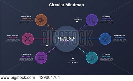 Mind Map Diagram With Six Colorful Round Elements Connected To Main Circle. Modern Infographic Desig