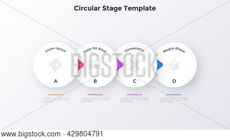 Flowchart With Four Overlaying Paper White Elements With Pointers Placed In Horizontal Row. Concept