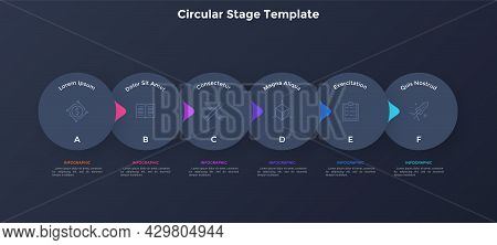 Flowchart With Six Overlaying Paper Black Elements With Pointers Placed In Horizontal Row. Concept O