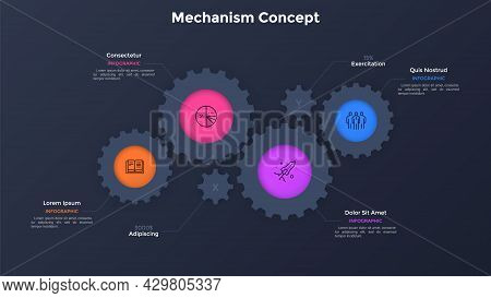 Diagram With Four Paper Black Gear Wheels. Concept Of 4 Features Of Innovative Manufacturing Project