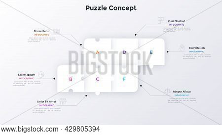 Process Chart With Six Connected Paper White Square Jigsaw Puzzle Pieces. Concept Of 6 Steps Of Busi