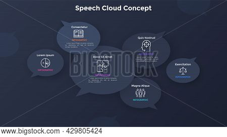 Six Paper Black Speech Bubbles. Concept Of 6 Statements, Quotes, Sayings Or Messages. Simple Infogra